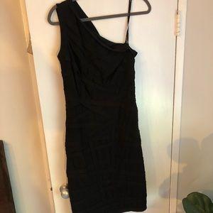 Tadashi Shoji one shoulder black bandage dress